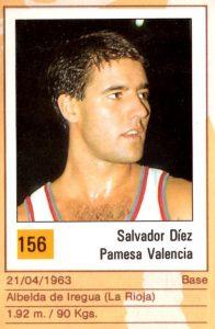Basket 90 ACB. Salva Díez (Pamesa Valencia). Ediciones Panini. 📸: Grupo de Facebook Nuestros álbumes de cromos.
