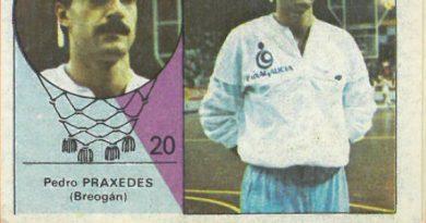 Campeonato Baloncesto Liga 1984-1985. Pere Práxedes (Breogán). Ediciones J. Merchante - Clesa. 📸: Emilio Rodríguez Bravo.