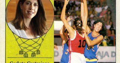 Carlota Castrejana (Selección española de baloncesto femenino). 📸: Cromo-Montaje del Grupo de Facebook Nuestros álbumes de cromos.