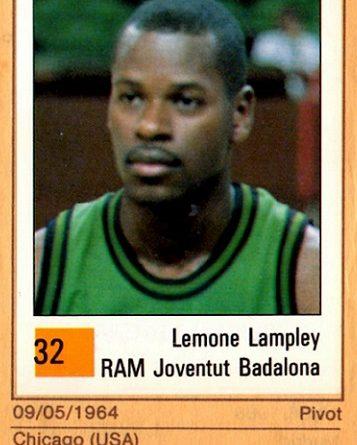 Basket 90 ACB. Lemone Lampley (Joventud de Badalona). Ediciones Panini. 📸: Grupo de Facebook Nuestros álbumes de cromos.