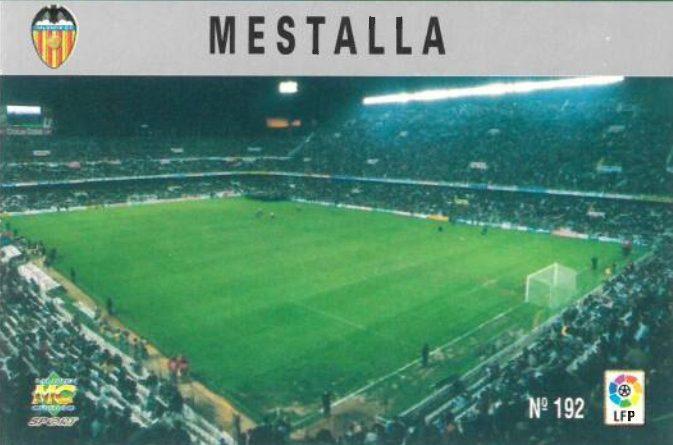 Las fichas de la Liga 97-98. Nº 192. Estadio de Mestalla (Valencia C.F.). Editorial Mundicromo.