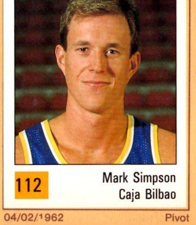 Basket 90 ACB. Mark Simpson (Cajabilbao). Ediciones Panini. 📸: Grupo de Facebook Nuestros álbumes de cromos.